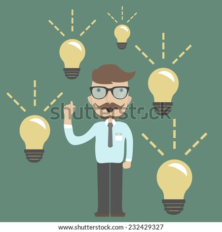 Businessman gets a lot of ideas - stock vector