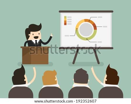 Businessman giving a presentation - stock vector