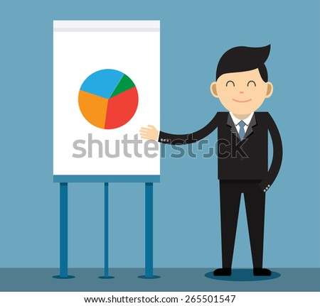 Businessman giving a presentation - stock vector