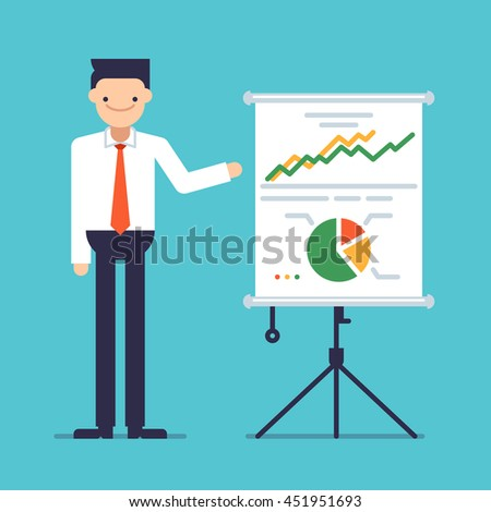 Businessman giving a speech showing sales statistics graph on a whiteboard. Smiling young man personage. Male making a presentation in front of whiteboard with infographics. Vector flat illustration. - stock vector
