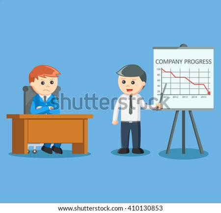businessman giving decreased progress presentation - stock vector