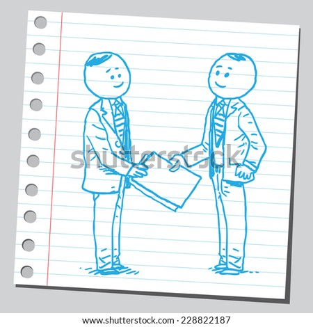 Businessman giving documents to other businessman - stock vector