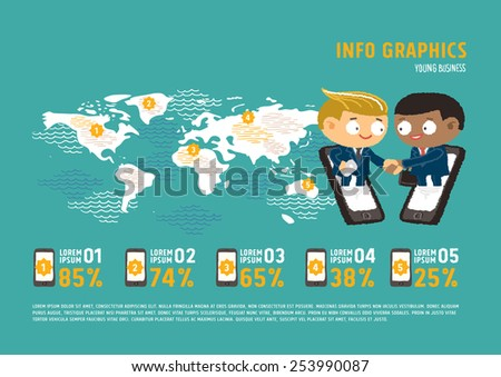 Businessman giving shaking hands to join business in world map - freehand drawing vector Illustration - stock vector