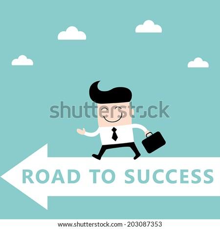 Businessman goes to the goal. Success, goal achievement business concept. Vector illustration - stock vector