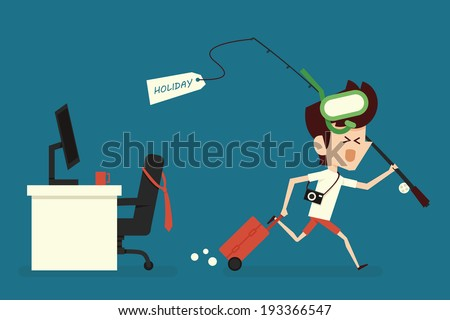 Businessman going for vacation - stock vector