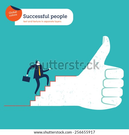 Businessman going up the stairs of an I like hand. Vector illustration Eps10 file. Global colors. Text and Texture in separate layers. - stock vector
