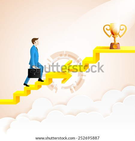 Businessman going up to the success with arrow connection staircase go to the trophies.arrow in impossible geometric shapes link.Vector Illustration - stock vector