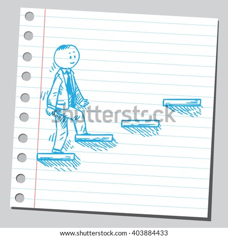 Businessman going upstairs - stock vector