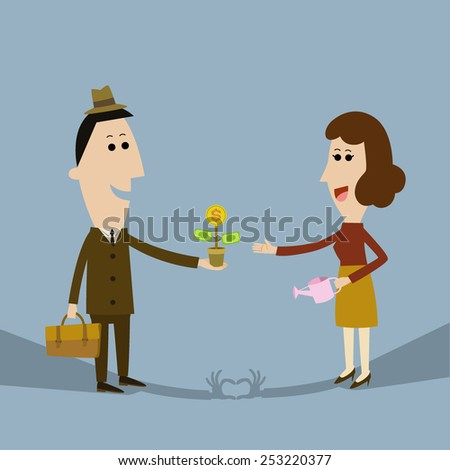 Businessman  grants to invest in stocks. Give a gift to her beloved.  - stock vector