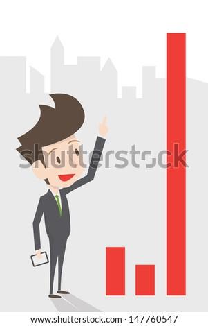businessman growing graph, vector - stock vector