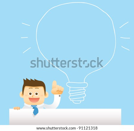 businessman &  hand drawn idea bulb concept - stock vector