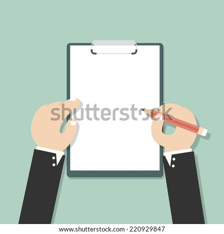 Businessman hand filling checklist on clipboard - stock vector