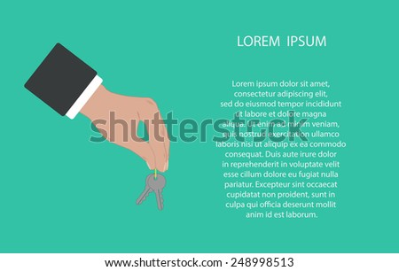 Businessman hand holding and giving keys. Web real estate template. Vector illustration icon EPS10 - stock vector