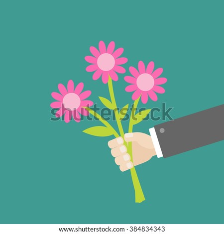 Businessman hand holding bouquet of pink daisy flowers. Flat design. Vector illustration - stock vector