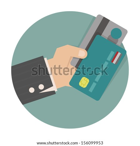 Businessman hand holding credit card , eps10 vector format - stock vector