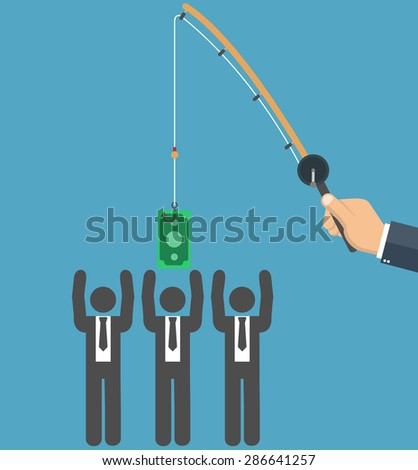 Businessman hand holding fishing rod and money bill as bait, stick figure businessman trying to reach it - Flat style - stock vector