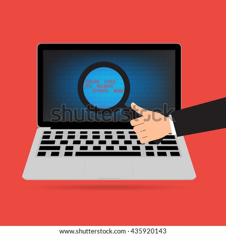 Businessman hand holding magnifying glass for find malware virus and threat on computer laptop for data protect. Cyber security and cyber crime concept design. - stock vector