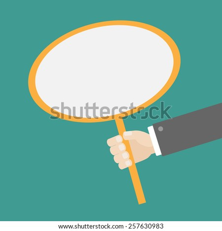 Businessman hand holding oval paper blank sign plate Template Flat design Vector illustration - stock vector
