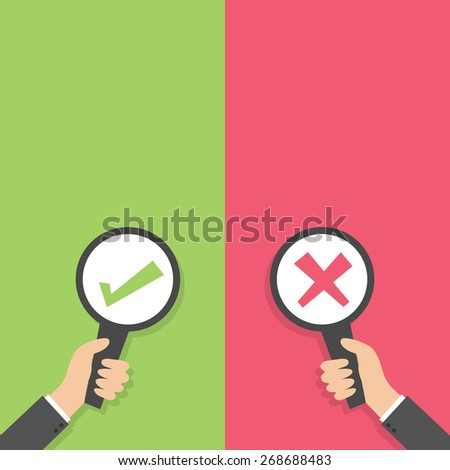 Businessman hand holding paper blank sign plate with green tick check and red cross mark Flat design Vector illustration - stock vector