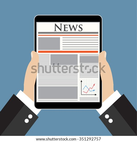 Businessman hand holding tablet and reading news online.  Vector illustration in flat design  for business concept.  - stock vector