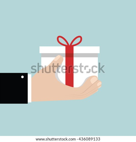 Businessman hand holding white gift box with red bow. Flat style - stock vector