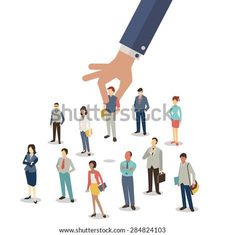 Businessman hand picking up selected man from group of businesspeople. Recruitment concept. Flat design. - stock vector