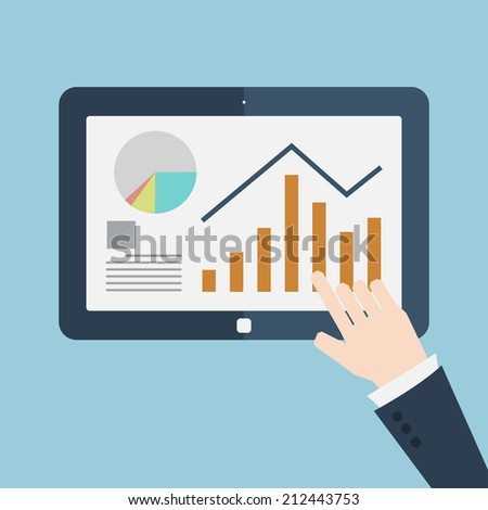 Businessman hands are holding and point on touch screen device. - stock vector