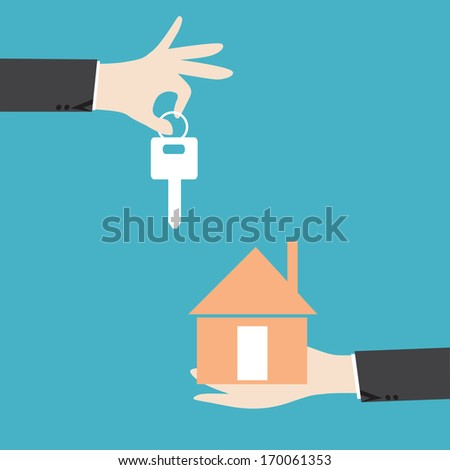 Businessman hands giving key for house,successful investment concept - stock vector