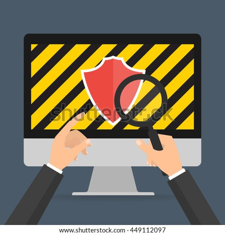 businessman hands hold a magnifying glass for find computer security for protected computer virus concept. Vector illustration technology data privacy and security concept. - stock vector