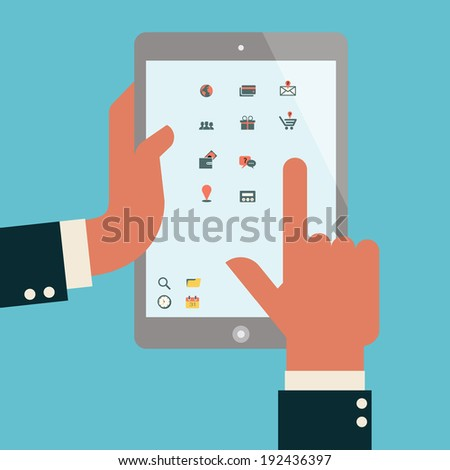 Businessman hands holding and touching computer tablet screen, with e-commerce and shopping on-line icons.  - stock vector