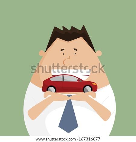 Businessman hands holding car model - stock vector