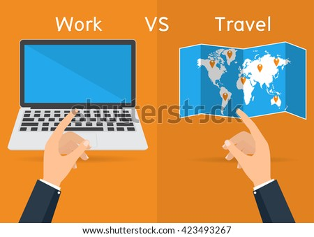 Businessman hands pointing to computer laptop for work and world map for travel on orange background. Vector illustration concept of life and work balance. - stock vector
