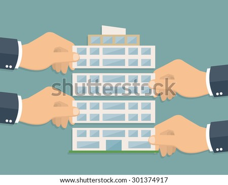 Businessman hands putting company building together - company corporation concept in flat style - stock vector