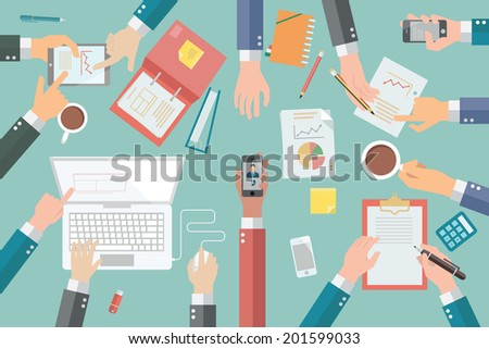 Businessman hands with various poses, holding, pointing, presenting, writing, in very busy business meeting or conference.  - stock vector