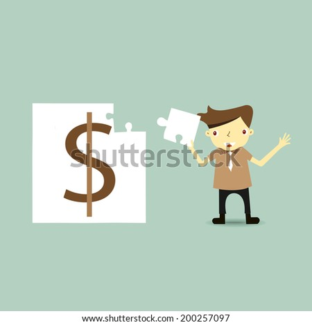 Businessman happy when making a money puzzle nearly finish. Business concept  - stock vector