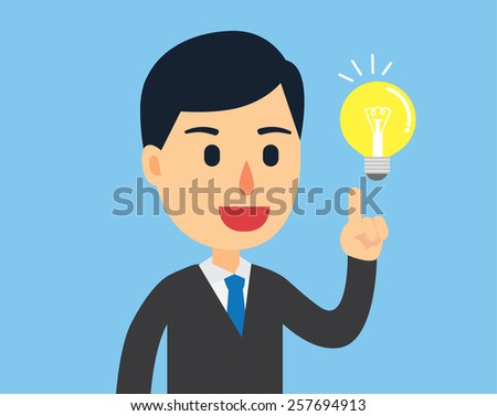 Businessman happy with his bright idea in work day - stock vector