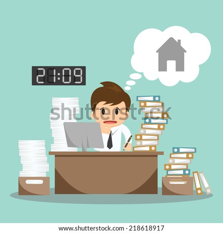 Businessman hard work on office vector illustration   - stock vector