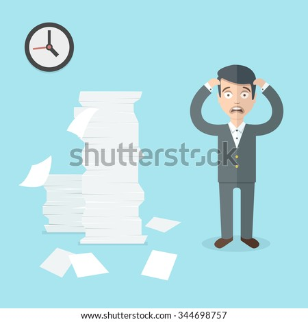 Businessman has a lot of work to do. Flat office illustration. - stock vector