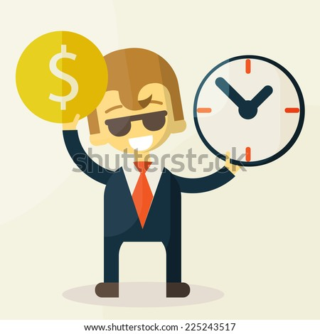 Businessman has money and clock. Concept Good Businessman has money and time - stock vector