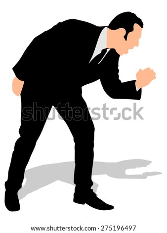 Businessman having a painful cough, vector - stock vector