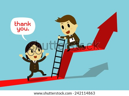 businessman Help each other Go together, - stock vector