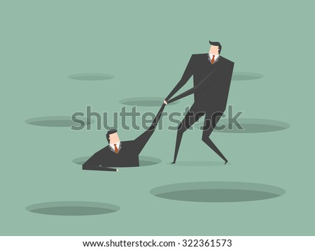 Businessman helping another. Business concept cartoon illustration. - stock vector