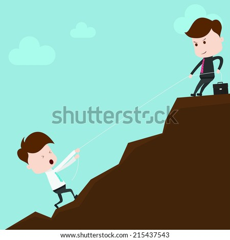businessman helping team. - stock vector