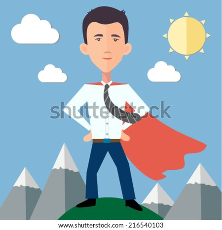 businessman hero standing on top of the world  - stock vector