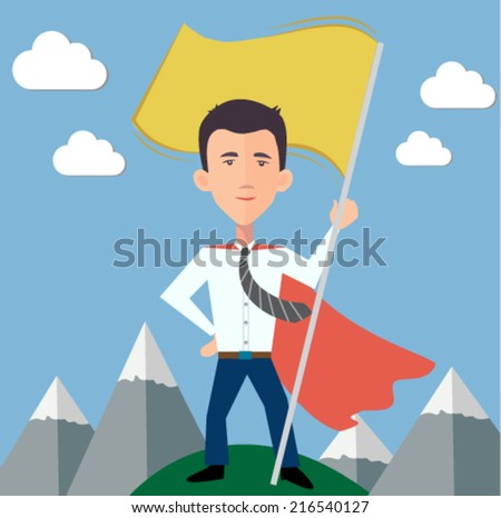 businessman hero standing on top of the world with a flag - stock vector