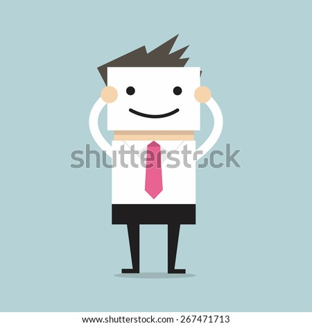 Businessman hide his real face by holding smile mask - stock vector