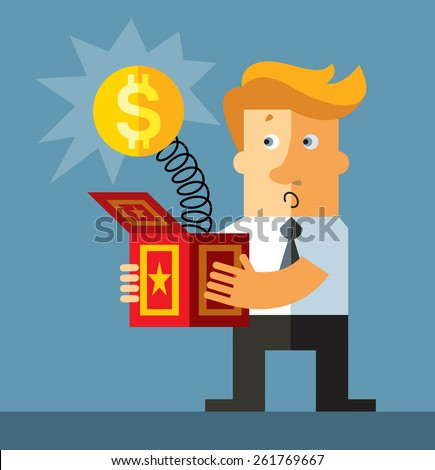 Businessman hold a jack in the box toy. Dollar  springing out of a box. Business flat vector illustration. - stock vector