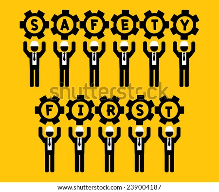 businessman hold gear safety first : business concept on yellow background - stock vector