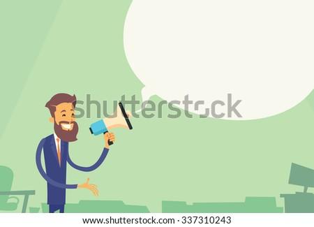 Businessman Hold Megaphone White Chat Bubble Copy Space Business Man Loudspeaker Flat Vector Illustration - stock vector