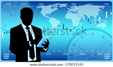 Businessman hold tablet computer (EPS10 vector) - stock vector